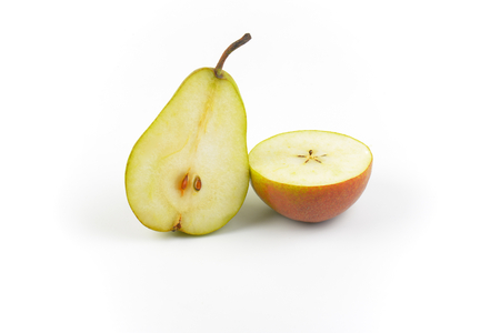 two halves of ripe pear on white background Imagens