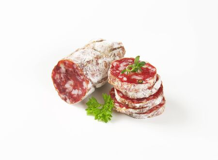 Slices of French dry cured sausage