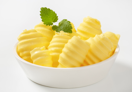 Bowl of fresh butter curls Stock Photo