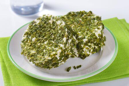 cebollines: queso fresco con cebollino en plato blanco