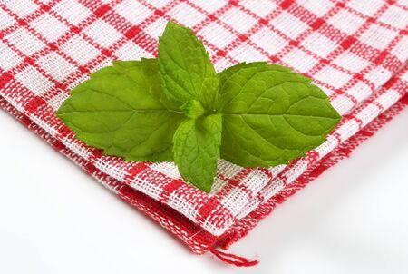dishtowel: fresh mint leaves on checkered dishtowel Stock Photo