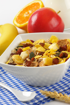 bowl of mixed breakfast cereals with dried fruit