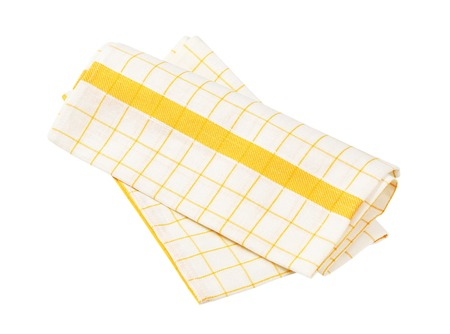 white and yellow checkered dish towel on white background