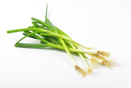 Fresh green onions on white background Stock Photo