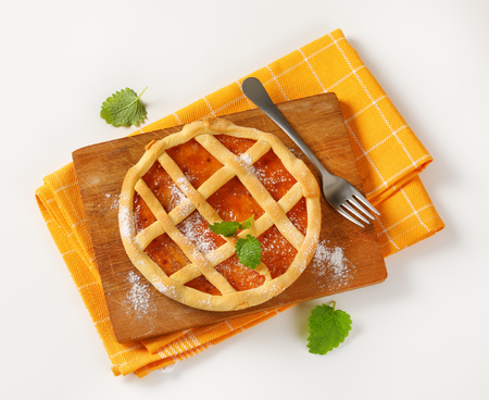 Crostata with marmalade or apricot jam filling Stock Photo