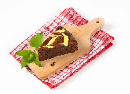 gingerbread: Slice of chocolate spice cake with cheese Stock Photo