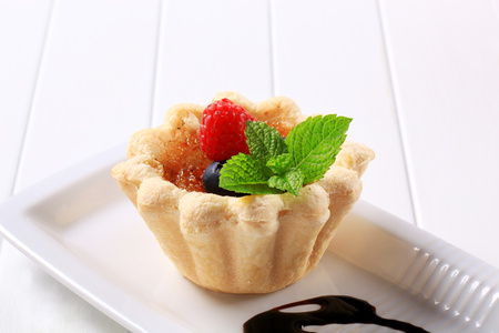 Mini  tartlet shell filled with Creme brulee Stock Photo