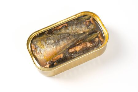 tin of sardines in oil on white background Stock Photo