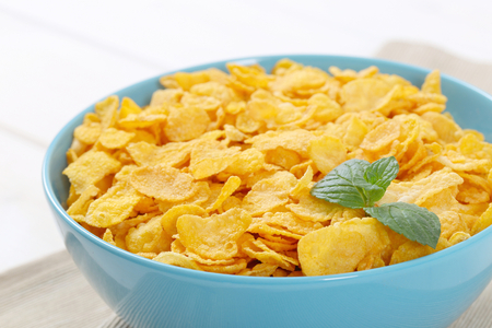 bowl of corn flakes - close up
