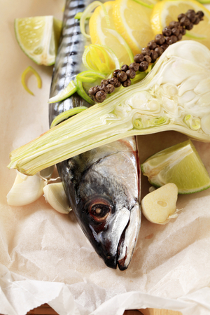en: Fresh mackerel and other ingredients on paper