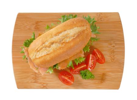 Frans broodje met gerookte zalm Stockfoto - 80204861