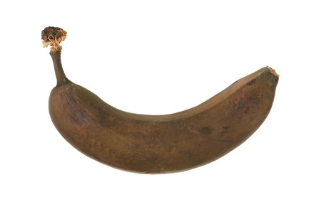 brown overripe banana on white background Stock Photo