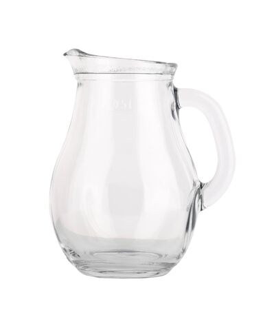 empty glass jug on white background