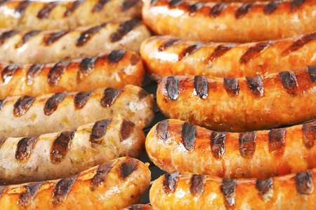 veal sausage: Detail of grilled German sausages