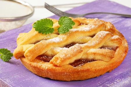 Lattice topped tart with jam filling