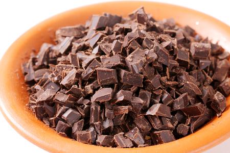 Bowl of dark chocolate chunks
