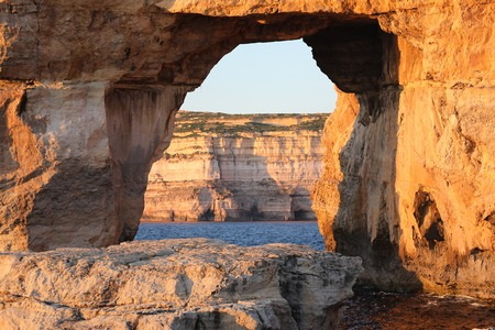 Natural rock arch called The Azure Window, Island of Gozo