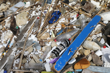 environmental issues: Garbage that has washed up on the sea shore