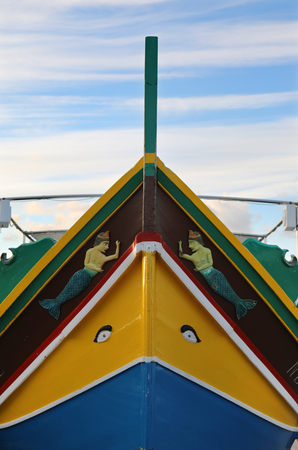 Bow of a Maltese Luzzu boat with a pair of eyes believed to protect fishermen from any harm when theyre at sea Reklamní fotografie