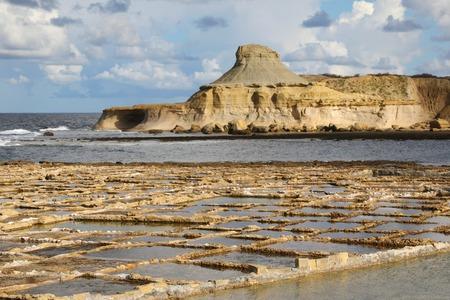 Salt evaporation ponds off the coast of Gozo Reklamní fotografie