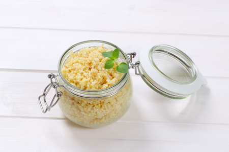 Cooked whole groats in a jar