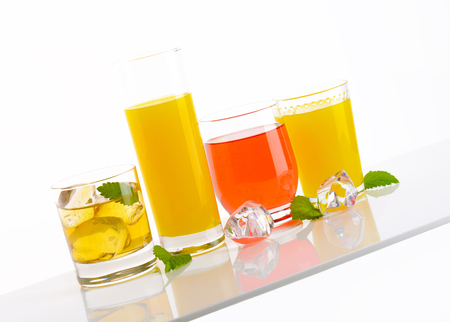 variety of fresh fruit juices on white background Reklamní fotografie