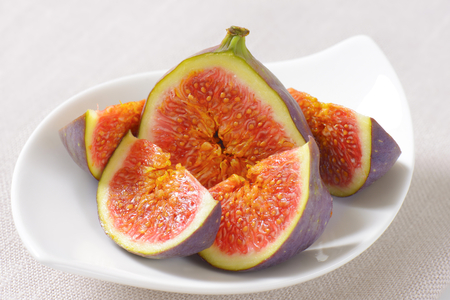 plate of sliced figs - close up