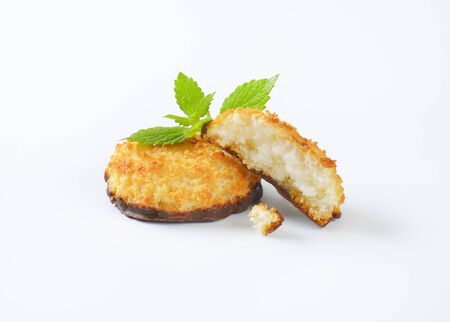 sweet coconut cookies on white background