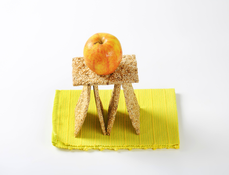 Whole wheat crackers with sesame seeds Stock Photo
