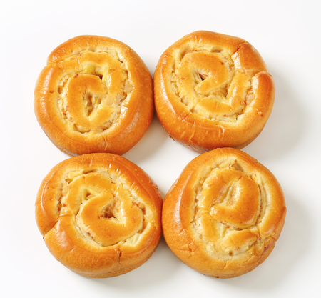 filled roll: Sweet bread rolls with apple and custard filling