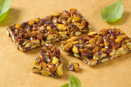Pistachio nut bar on parchment paper 版權商用圖片