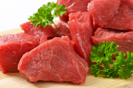 close up of diced raw beef meat with parsley