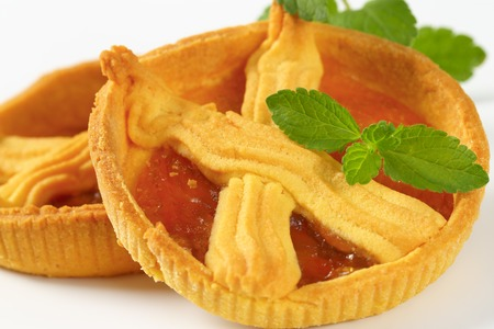 detail of small apricot jam tarts