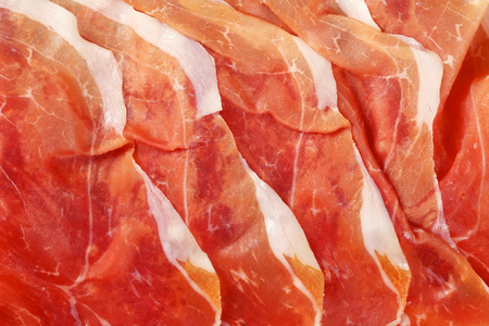 detail of air dried ham slices - full frame