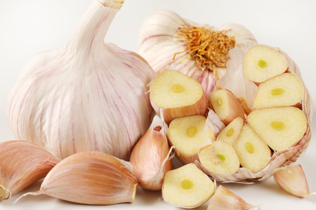 bulbs and cloves of fresh garlic - close up