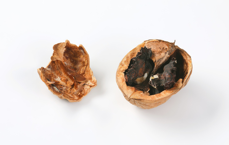 two walnut shells on white background