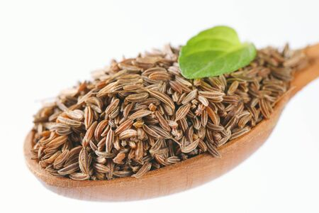 spoon of caraway seeds - close up
