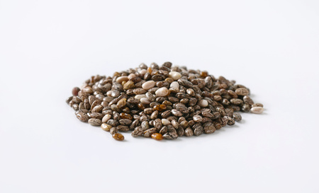 pile of healthy chia seeds on white background Reklamní fotografie