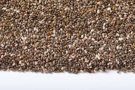 healthy chia seeds on white background