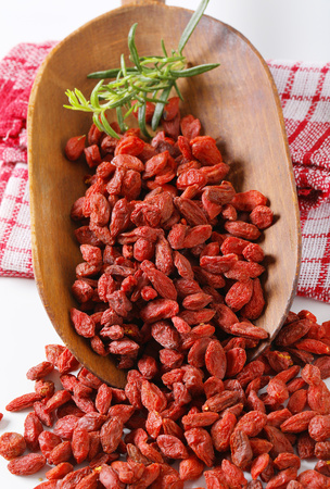 scoop of healthy goji berries and rosemary twigs on checkered dishtowel Reklamní fotografie - 101584922