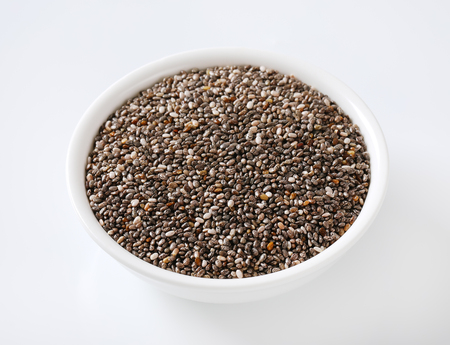 bowl of healthy chia seeds on white background