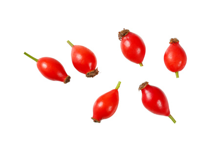 group of rose hips on white background