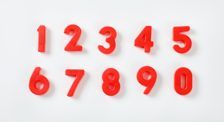 set of red numbers from 0 to 9 on white background
