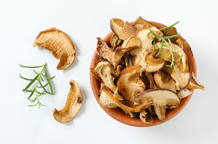 bowl of dried mushrooms on white background Reklamní fotografie - 106000063
