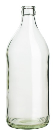empty glass bottle standing on white background