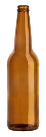 empty brown bottle standing on white background