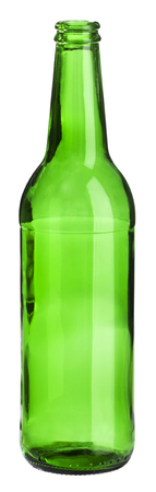 empty green bottle standing on white background