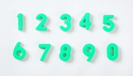 set of green numbers from 0 to 9 on white background