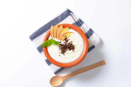 Bowl of milk pudding with apple slices and grated chocolate Reklamní fotografie - 111872057