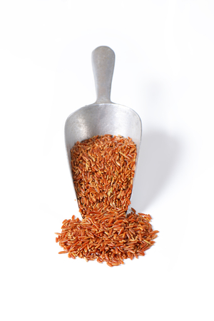 Grains of Camargue red rice in a scoop Reklamní fotografie - 111872066